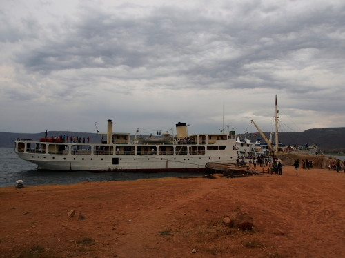 MV Liemba docked in Kasanga (side)